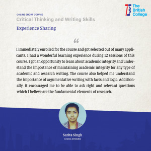 Critical Thinking and Writing Skills attendee experience sharing