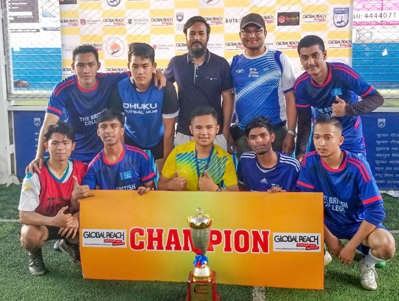 BMC Triumphs in the 4th Global Reach Inter A level School Futsal Tournament